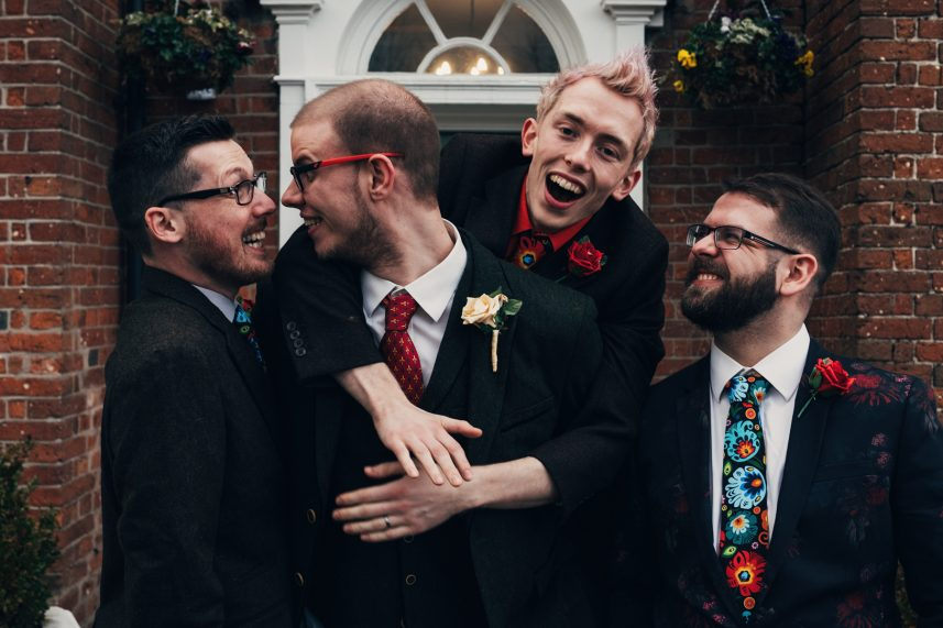unposed wedding photography, fun groom photo, the barns hotel, cannock wedding photography, bib and tucker photography